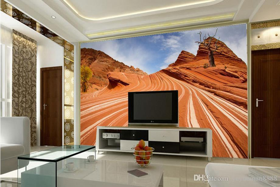 Wall Murals For Living Room custom 3d mural wallpaper atmospheric desert tv wall murals