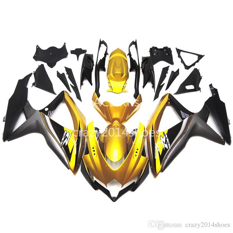 5 regalos gratis Nueva ABS kits de carenado de motocicleta 100% aptos para SUZUKI GSXR600 750 K8 08-10 GSXR600 GSXR750 2008-2010 agradable negro y oro agradable 158