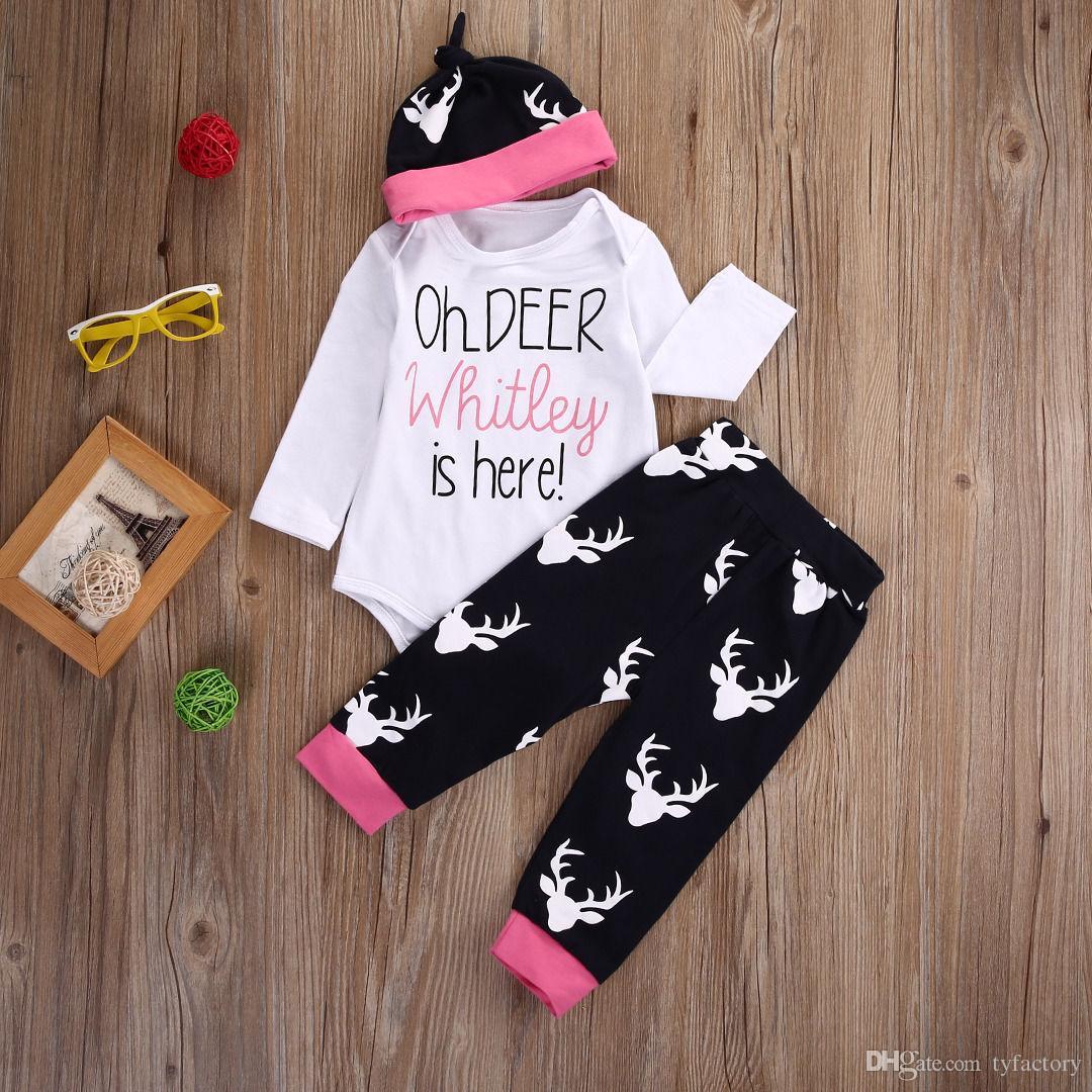 2017 heißer verkauf kinder mode anzüge 3 stücke Jungen Mädchen weihnachten sets Neugeborenen Strampler + rentier pants + hut Bodysuits Outfits Kleidung 3-18 Mt