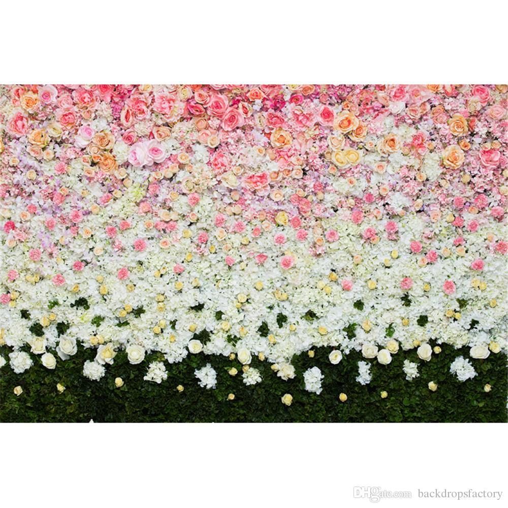 Compre Digital Impreso Rosa Flores Blancas Telón De Fondo De La