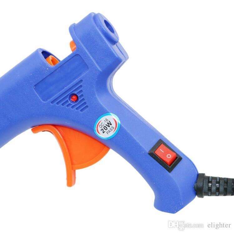 Leepesx 20 W pistolet /à colle thermofusible machine /à colle thermofusible multifonctionnel industriel m/énage pistolet /à colle bricolage avec bouton interrupteur bleu HJ005