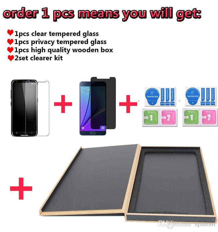 Temperli Cam Temizle + Gizlilik Ekran Koruyucu Film Ahşap Kutu ile Lüks Perakende Paketi için iPhone Xs max 8 8 Artı 7 6/6 s Artı