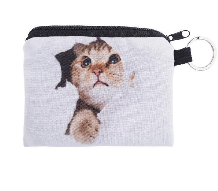 Fashion cute small zipper coin bag Ladies 3D printing Wallets For Women Cat Pattern Female free ship