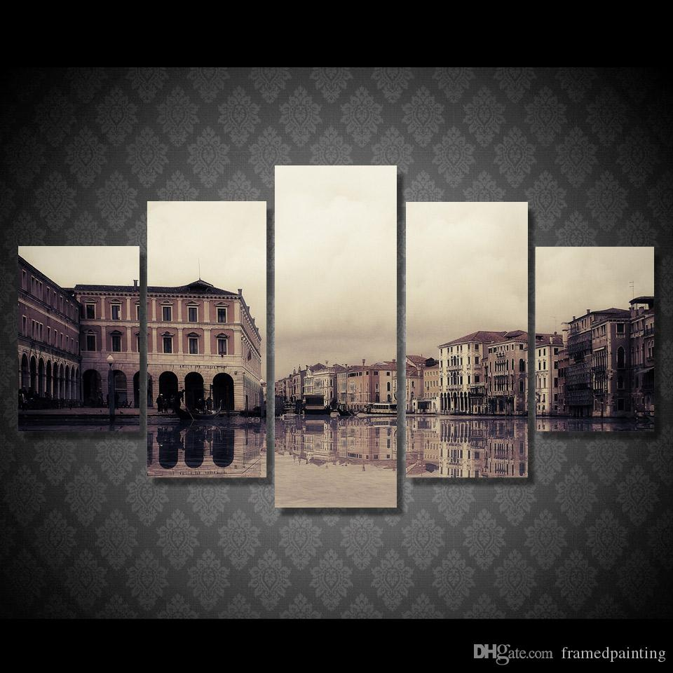 Framed HD Printed Venice River City Building Painting Picutre Print Wall Art Living Room Decor Poster Canvas Paints