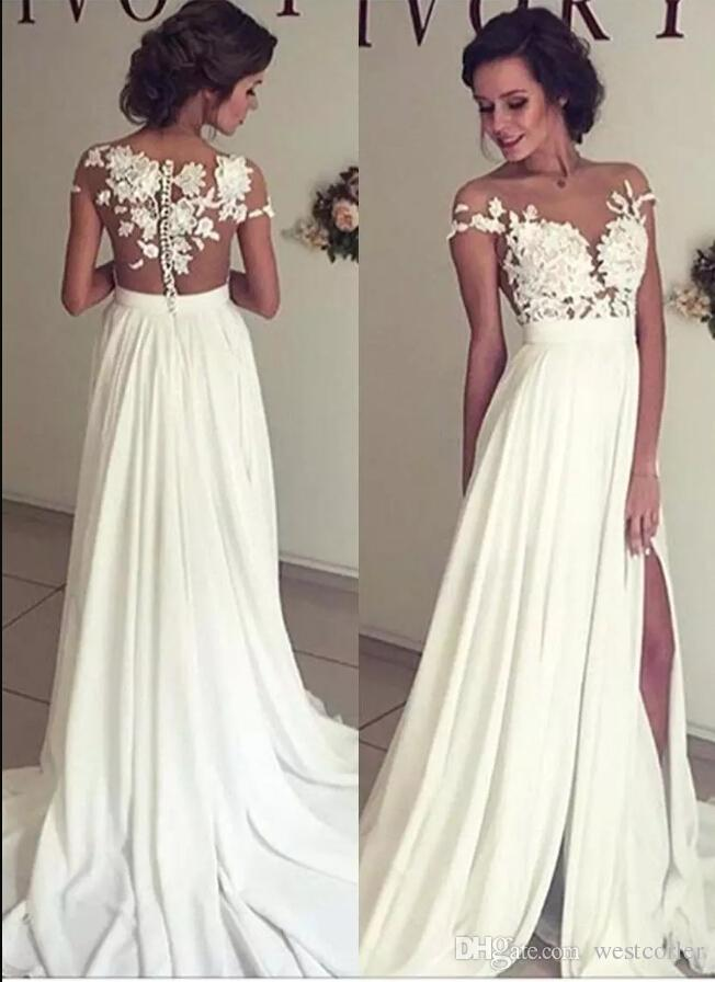 Discount 2018 Bohemian Chiffon Wedding Dresses Cheap Sheer Crew