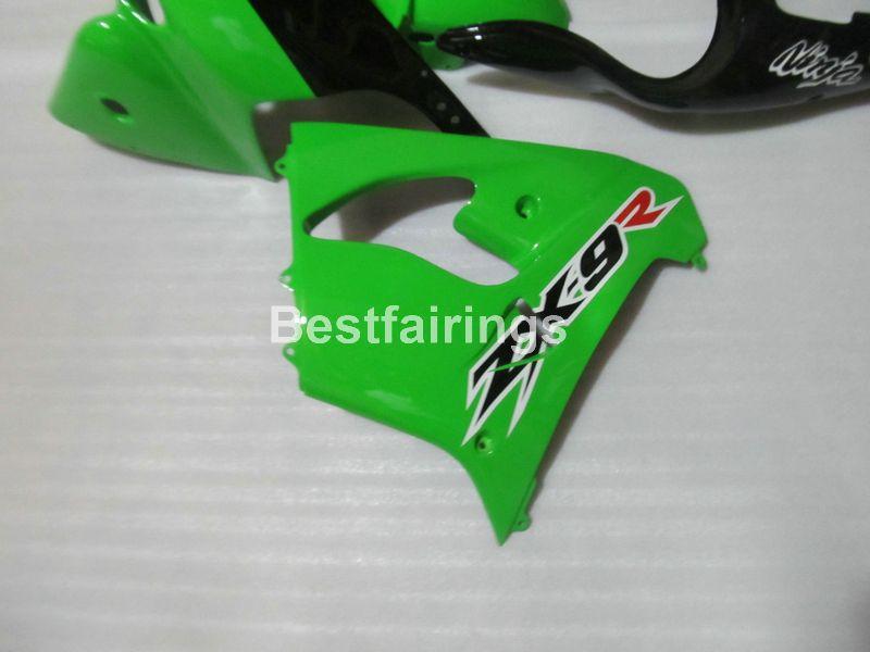 Heißer Verkauf Verkleidung Kit für Kawasaki Ninja ZX9R 98 99 grün schwarz Karosserie Verkleidungen gesetzt ZX9R 1998 1999 TY10