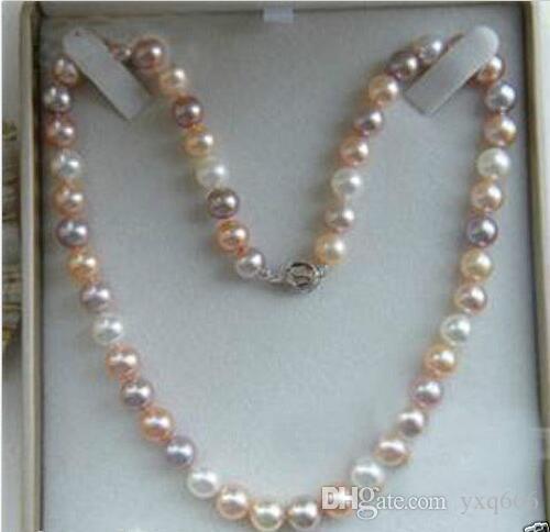 9-10mm Oryginalny Naturalny Biały Różowy Purpurowy Akoya Kultura Pearl Naszyjnik 18
