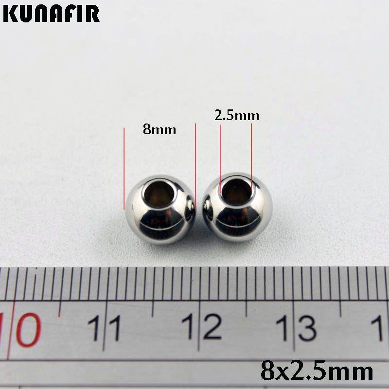 1.5mm / 2mm / 2.5mm / 3.5mm / 3.5mmの穴8mmの直径滑らかな316Lのステンレス鋼ビーズブレスレットネックレスアクセサリージュエリーDIY部品200ピースZSP033