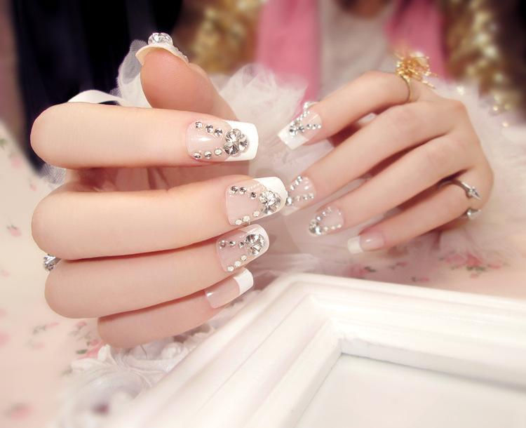 Wholesale New Party Wedding French Style 3d Acrylic Classical Plastic Art Long Fake False Sticker Nail Tips Free Glue Gel N563 Nails Design Designs