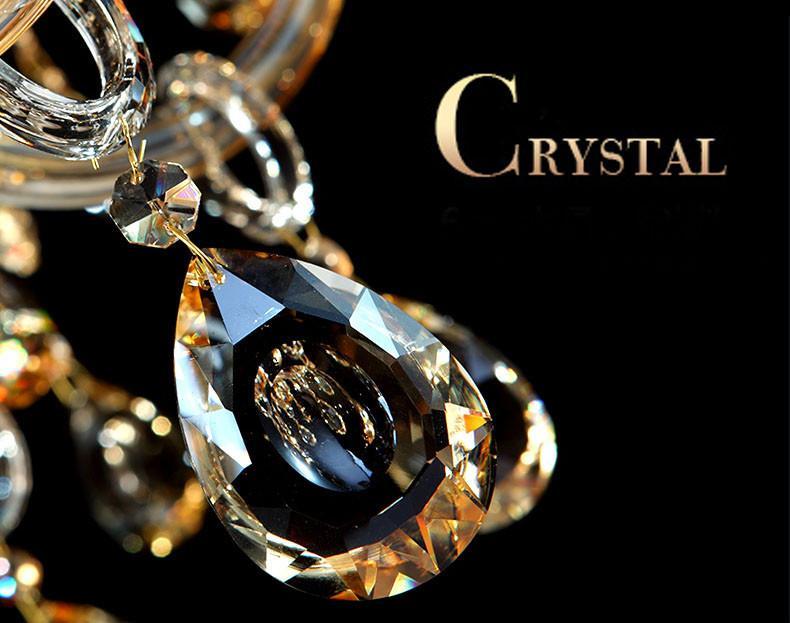15 Arms lampadario di cristallo di lusso moderno chiaro di cristallo del lampadario a bracci di illuminazione champagne in cristallo K9