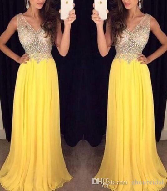Luxurious 2016 A-line V-neck Chiffon Beaded Crystals Yellow Long Women Prom Dresses Prom Gown Evening Dresses Evening Gown
