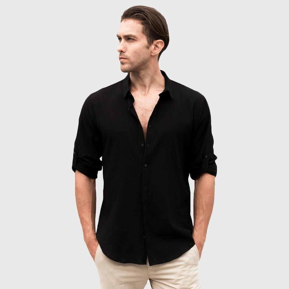 Mens Designer White Linen Shirt