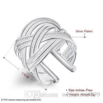 Partihandel - Retail Lägsta pris Julklapp, Gratis frakt, Ny 925 Silver Fashion Ring R24