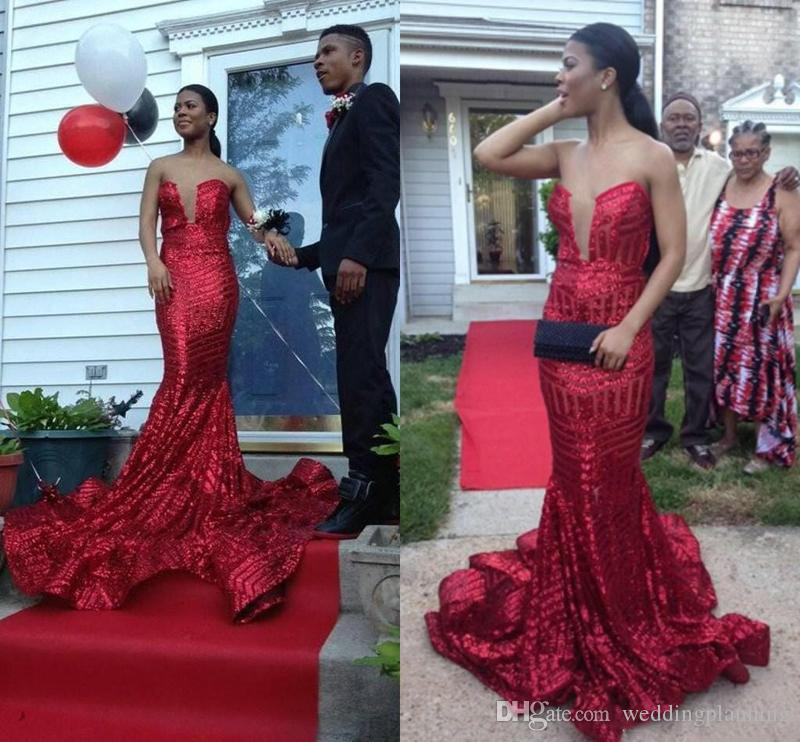 2017 Long Mermaid Sequined Red Prom Dresses For Black Girl Strapless Backless Sweep Train Evening Party Dresses Custom Made