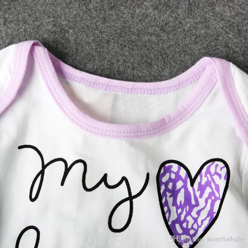 2017 baby girl clothes sets hats+rompers+pants infant girl purple clothing suits letter jumpsuits toddler girls overalls onesie