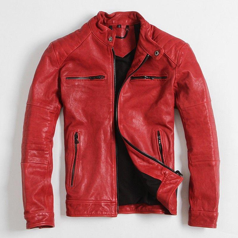 2017 New Sheepskin Fast Furious Red Leather Jackets Streetswear
