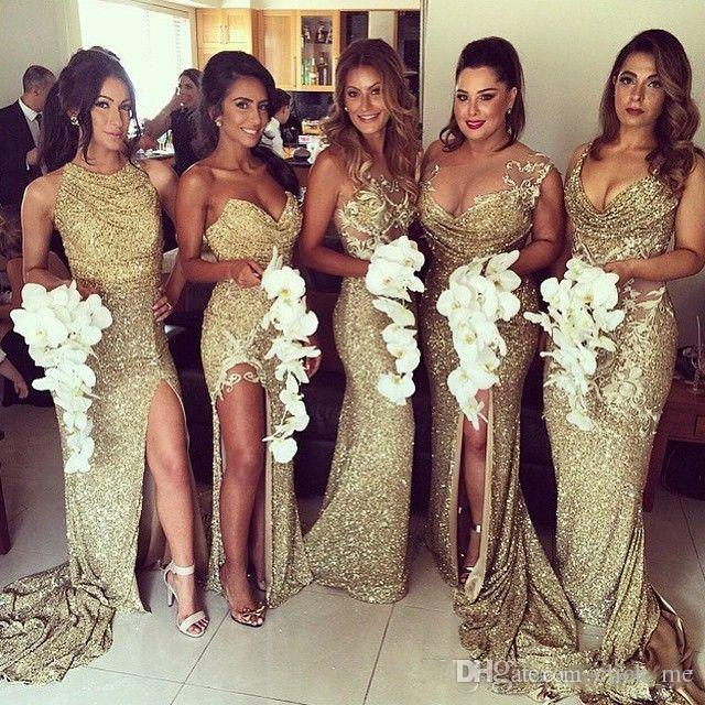 BlingBling ouro lantejoulas sereia Vestidos dama Mixed StyleSexy Maid Of Honor Vestidos Sheer Back Side Dividir Prom vestidos de festa Traje a Rigor