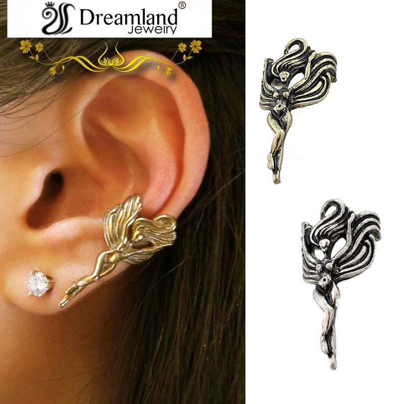 punk ear clip wholesale enchanting cat flower angel frog models ear cuff vintage metal clip earrings for women men E094