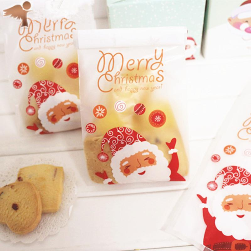 Merry Christmas Cookie Plastic Bag Santa Claus Cookie Candy Bags Frosted Opp Food Gift Packaging Party Supplies 50 Counts