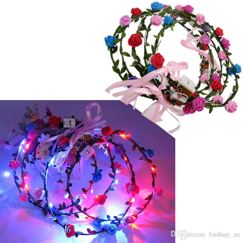 LED Flashing Rose Flower Festival Headband Veil Party Halloween Christmas Wedding Light-Up Floral Garland Hairband Daughter Best Gift