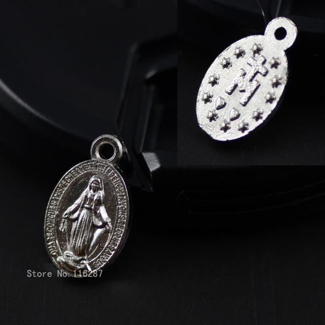 Wholesale-8*14mm Catholic religious Gifts Virgin Mary Sacred Hearts The  Medal holy Medal love heart zinc alloy Charm Pendant