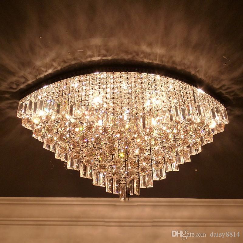 Luxury Design Modern Oval Crystal Chandelier Flush Mount Led Light ...