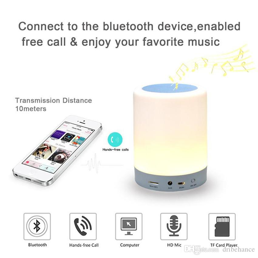 Night Light Bluetooth Speakers Portable Wireless Music Speaker Smart Touch Control Color LED Bedside Table Lamp Speakerphone TF Card