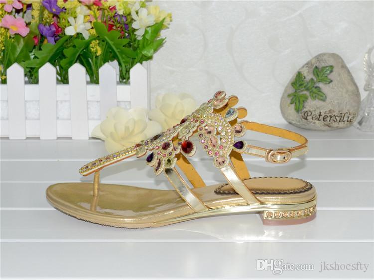 Tamaño extra grande de la marca de las nuevas mujeres zapatos planos de las sandalias del Rhinestone decorado verano embutido del diamante de lady Euro 34 ~ 44 Zapatos de la playa