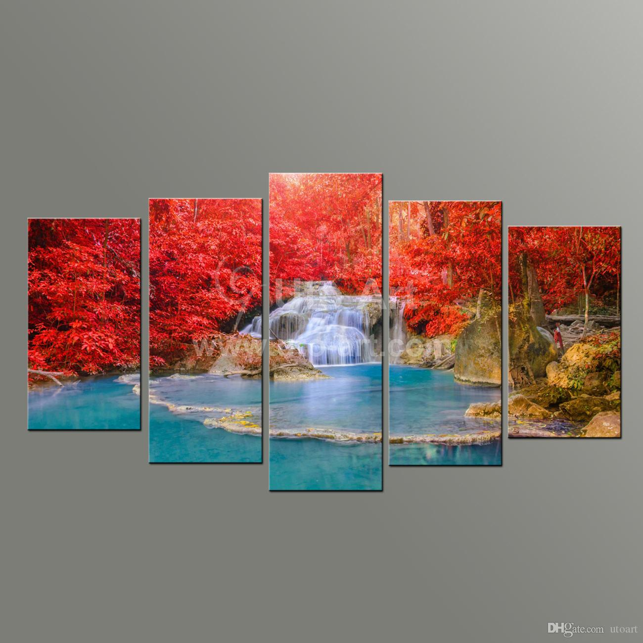 5 Panel Wall Art 2017 5 panel wall art paintings landscaping waterfall picture and
