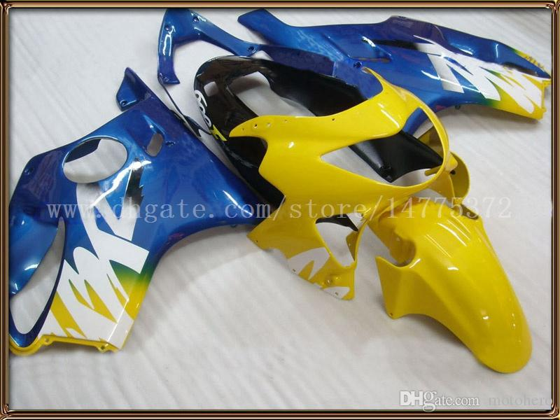 Yellow blue Fairings for HONDA CBR600F4 1999-2000 CBR 600F4 CBR600 F4 600 F4 99 00 1999 2000 fairing kit+windscreen #r83m2