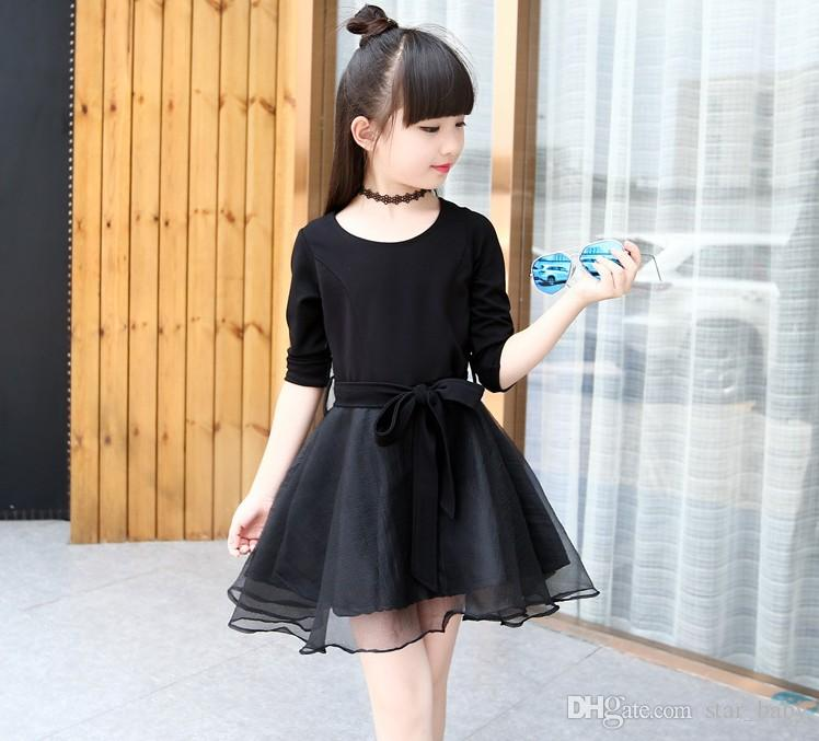 2018 Hot Sell Korean Style 2016 Autumn Girls Fashion Black Dress Round Neck Shirt Pitch With