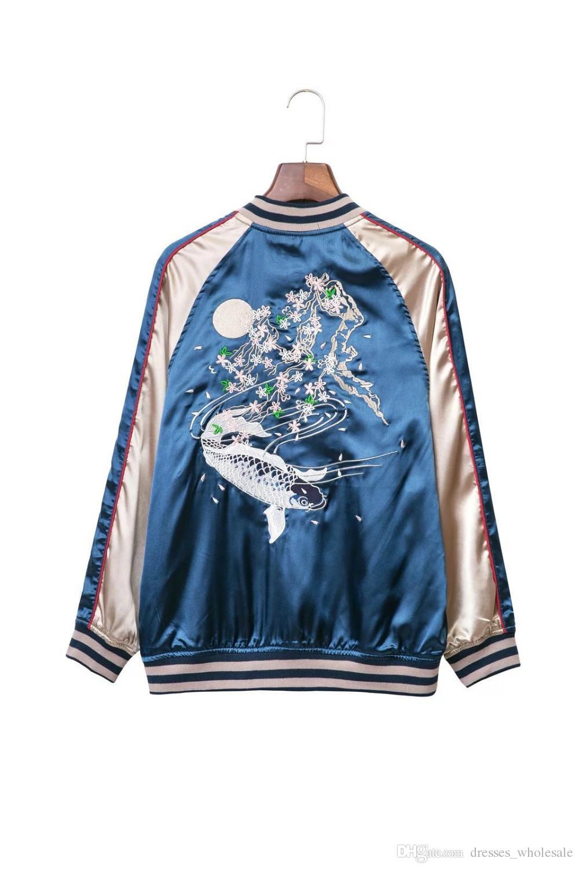 Big-name Outwear Autumn satin embroidery bomber jacket coat 2017 winter jacket women Casaul fish thin jacket streetwear sukajan