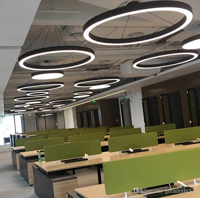 Modern Office LED Circle Pendant Lights Round Suspension Hanging Pendant Lamp Ring Chandelier