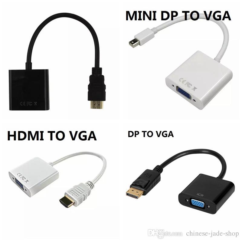 1080P HDMI a VGA Mini DP a VGA DP Pantalla Puerto a VGA Convertidor Cable /