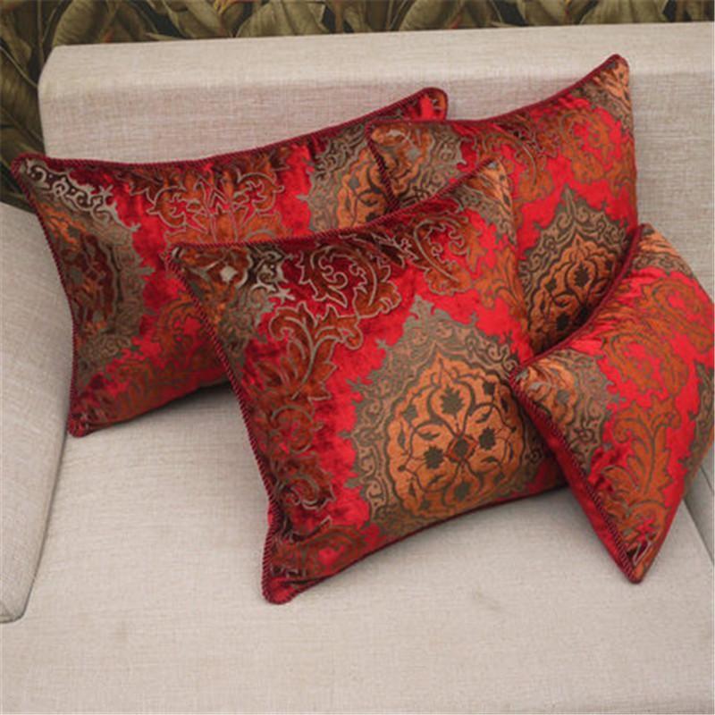 Bz193 Red Elegant European Velvet Engraved Fabric Cushion Cover Pillowcase Sofa Car Pillow Home Textiles Supplies Lawn Chair Cushions On
