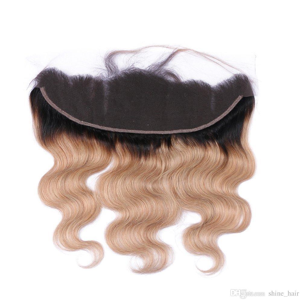 Dos tonos 1B / 27 Honey Blonde Ombre Virgen brasileña del cabello humano teje 3 paquetes con Strawberry Blonde Ombre Body Wave 13x4 encaje frontal
