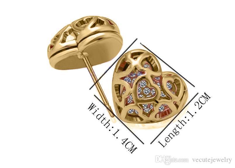 2 ألوان 18 كيلو مطلية بالذهب كريستال القلب مجموعات مجوهرات مصنوعة مع مناصر تشيكوسلوفاكيا مجموعات للنساء shinny الزركون مجوهرات الزفاف مجموعة