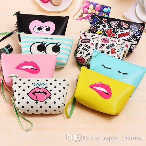 34a91d585fb Women Cosmetic Makeup Bags Lips Wow Retro Dot Beauty Case Makeup Bag ...