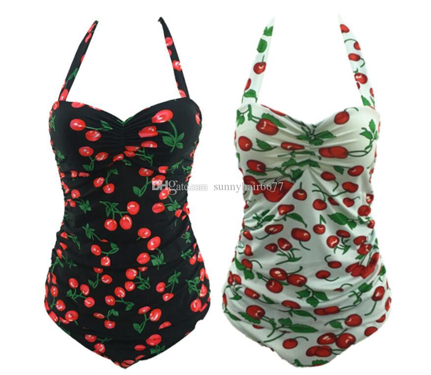 577342e9d9 2019 Mis June Women Plus Size Cherry Bikini Halter Backless Push Up  Swimwear One Piece Bathing Suit 827 From Sunnyhair6677