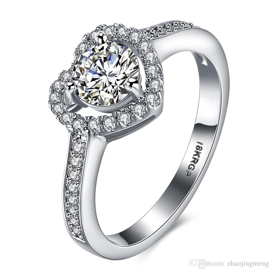 18KRGP White Gold Plated Wedding Rings Hollow Love Heart Design ...