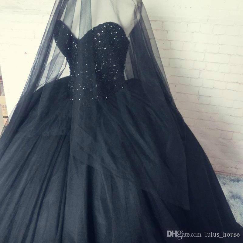 Gothic Black Prom Masquerade Ball Gowns Fully Beaded Sweetheart ...