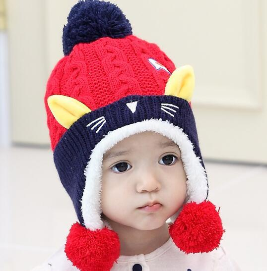 Winter Cute Baby Kids Hat Wool Beanies Baby's Warm Beanies knitted Winter Wool Cartoon Cat Ear Beanies for Boys And Girls 2017 New