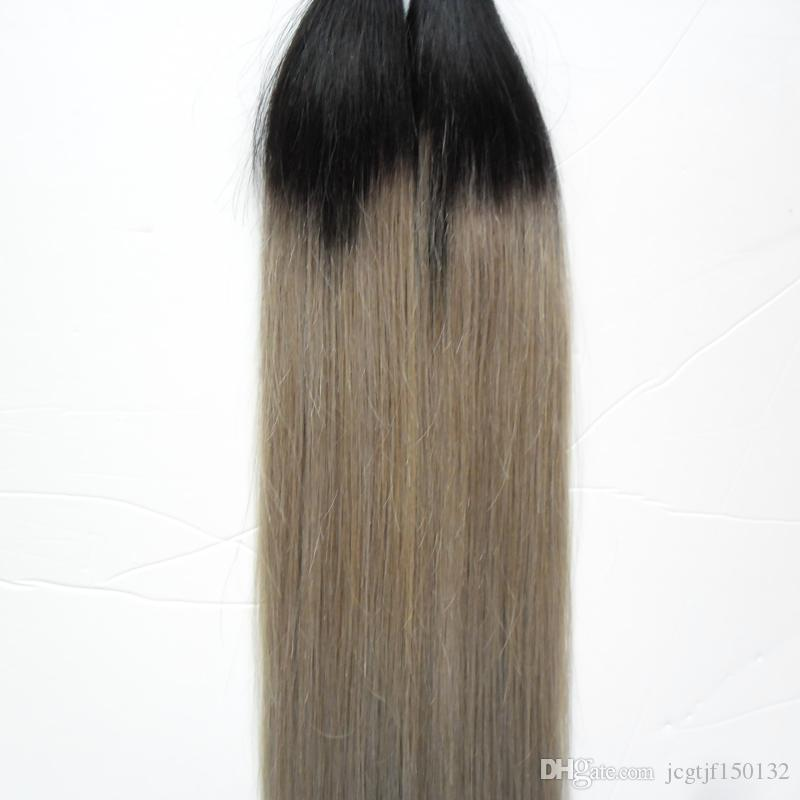 T1B/silver gray hair extensions 100s human hair fusion extensions u tip 100g Straight pre bonded ombre hair extensions keratin