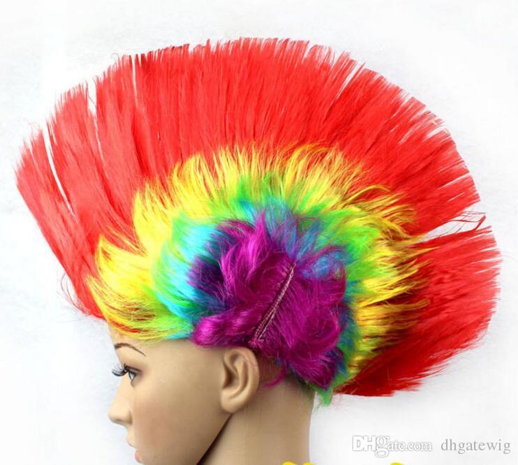 Rainbow levou Mohawk Perucas de Cabelo Moda Futebol Fãs de Futebol Peruca Do Punk Desempenho Cosplay Festa perucas piscando Festival peruca de flash de natal