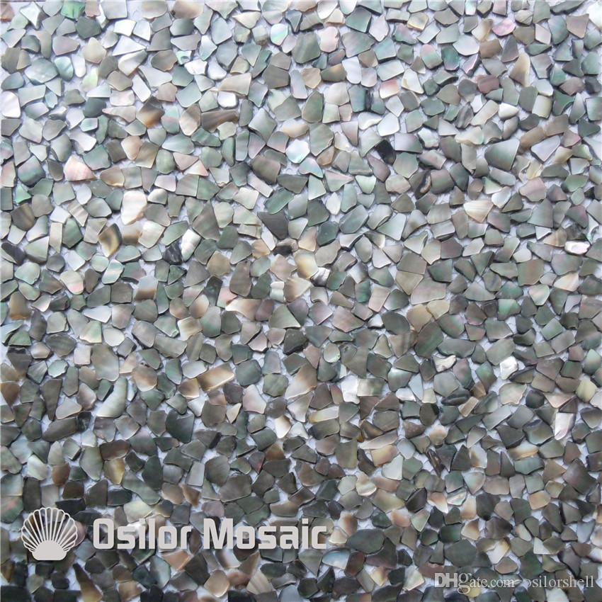 100% blacklip sea shell mother of pearl mosaic tile for home decoration  wall tile irregular chips seam tile on mesh
