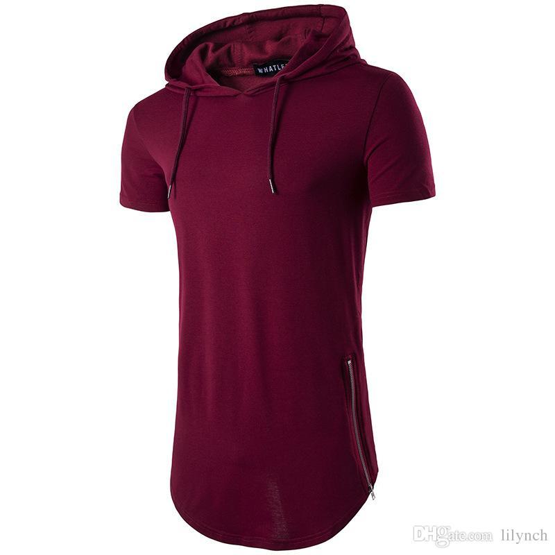 Tops tees Sıcak satmak 2017 kapşonlu fermuar uzun yaz erkek T-shirt erkekler kısa kollu T-shirt moda yuvarlak boyun Erkekler Rahat T-shirt