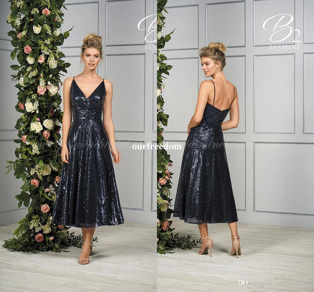 b2a141f914fa 2018 Modest Navy Blue Sequins Tea Length Bridesmaid Dresses Spaghetti  Straps Maid Of Honor Wedding Guest Gown Formal Evening Dresses Custom Best  Bridesmaid ...
