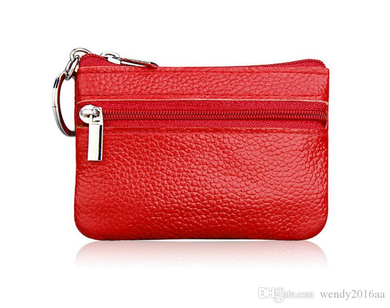 New Arrival Leather pure Coin purses keychains keys wallet Purse change pocket holder organize cosmetic makeup