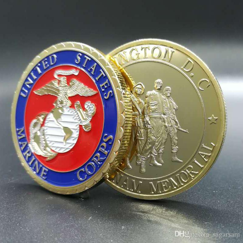 The brand new The united states marine soldier Washington D.C. VIETNAM MEMORIAL Real gold plated souvenir coin badge