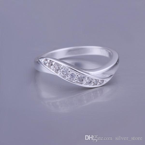 Stone Livraison gratuite incrusté bague bijoux en argent sterling SR159, tout nouveau doigt d'argent 925 pierres précieuses blanc Bagues de mariage